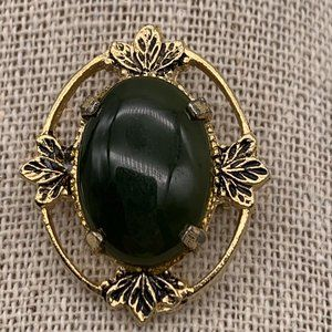 Vintage Green Stone Gold Tone Brooch
